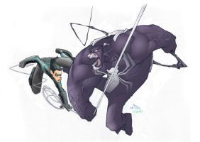 Nightwing Vs. Venom by shemit
