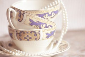 Teacups and pearls by Pamba