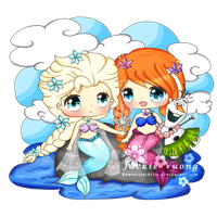 Elsa and Anna Mermaids by KawaiiiJackiiie