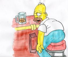 Homer drunken at Moe's by Eddie-Lou-Fan