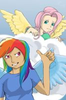 Rainbowdash and Fluttershy by Hjolle