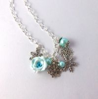 Snowflake Turquoise Charm Necklace by FayeValentineJewelry