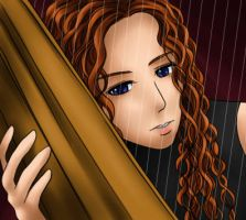 Harp and Harpist by Evelynism