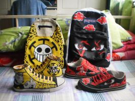 Trafalgar Law x Uchiha Itachi bag and shoes by Elison182