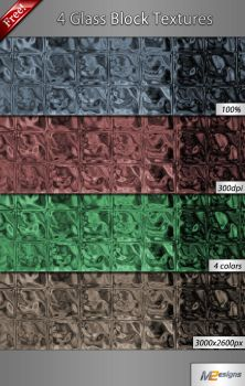 4 Glass Block Textures by m2-Designs