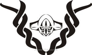 Deoxys Face Tribal Tattoo by NewtonianNocturn