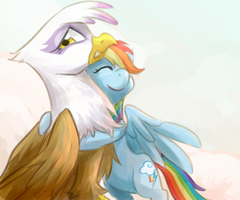 Dash hugs Gilda by norang94