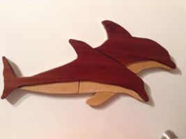 Intarsia Dolphins by NINJAWERETIGER