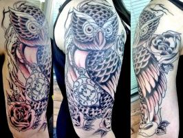 Owl Tattoo Half Sleeve in Progres by iluv2rock99