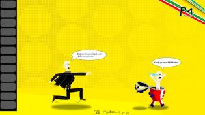 Kanji Chases Teddie by bluefire4000