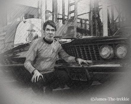 Nimoy Leaning On A Car Sketch Marked by James-The-Trekkie