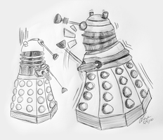 New Dalek lols at old Dalek. by SecretSmile90