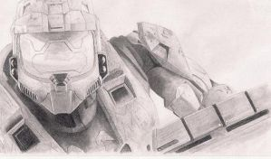 Master Chief Sketch By Seraphim by SinisterCreationsNM
