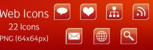 Glossy Red Web Icons by rjoshicool