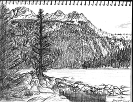Sketchbook: Mountain Camping Sketch 7-25-15 by CCI545