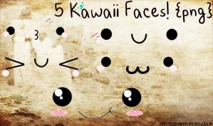 Pack: 5 Kawaii Faces png. by BaastySmiler