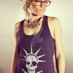 POB Navy Skull Tank Top by piratesofbrooklyn