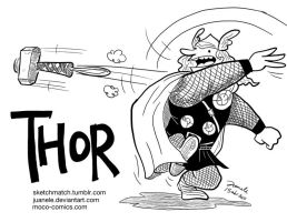 Thor throwing his hammer by Juanele