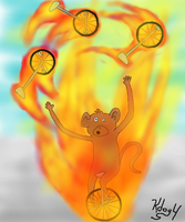 Flamin'Unicycle Jugglin'Monkey by Kdogfour