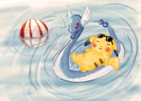 pikachu at the beach by laurafufu