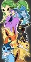 EEVEELUTIONS ART TRADEEE by Kureculari