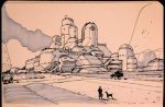 Ghibli -Moebius style university castle blah by Hideyoshi