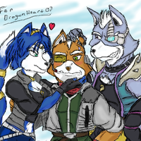 Krystal, Fox and Wolf by TheGreatMatsutzu