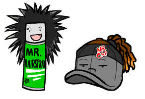 Mr. Hairspray and Mr. Cap by rcahern
