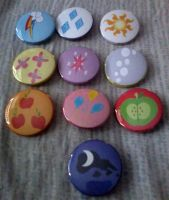 MLP: FiM Cutie Mark Button Set by cosplay-kitty