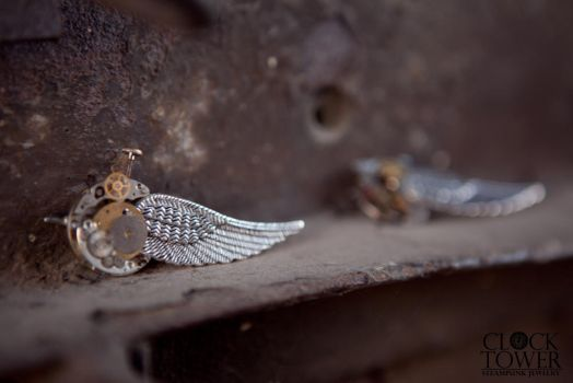 Steampunk wing of freedom Brooche 03 by ClockTowerShop