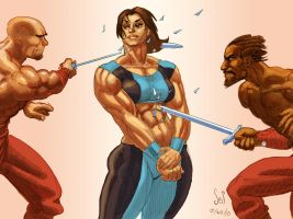 Strongwoman vs Swords by Jebriodo