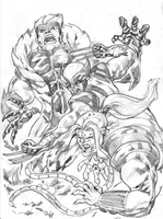 Wolverine, Omega Red and Sabertooth by gunzaku56