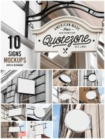 10 Signs Mockup - Restaurant and Coffee Shop by forgraphic