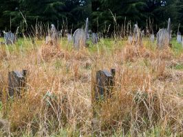 Dry Brush Overgrown Grave Stone Painting by aegiandyad