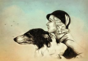 Vintage Lady And Dog by ditney