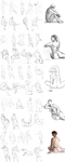 50 Gesture Drawings (nude models) by Aerorwen