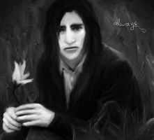 Young Snape holding a Lily by LydiaKitten