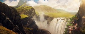 Waterfall Valley by InkTheory