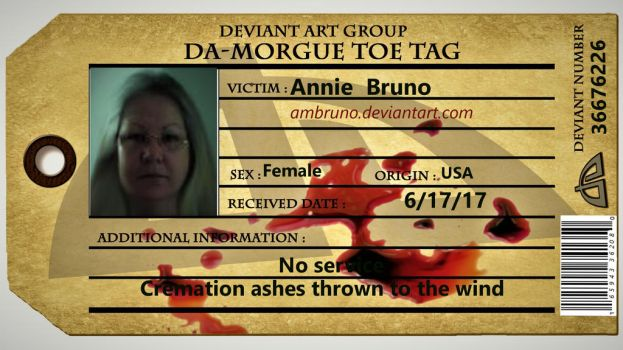 Annies toe tag by Ambruno