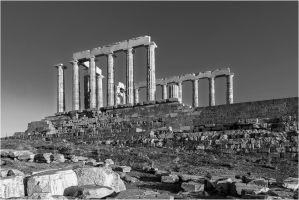 Poseidon Temple BW by etsap