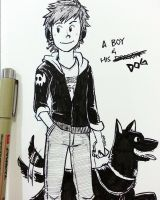inktober - a boy and his dog by MondoArt
