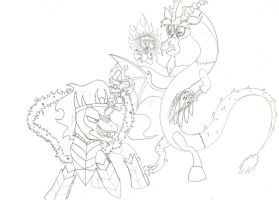 Discord vs. King Sombra by lordsiravant