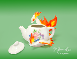 Dragon tea Set - Fire Spirit Dragon by rosepeonie