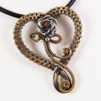 Lola 2 Bronze Heart Pendant by Wiresculptress