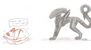 The best way to hide from a Xenomorph by SheWolfey
