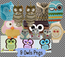 9 Owls Pngs SET_2 by JEricaM