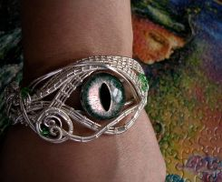 Custom - Peridot Sun Silver Dragon Eye Bracelet by LadyPirotessa