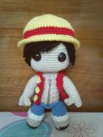 Luffy sackboy doll (One Piece) by NVkatherine