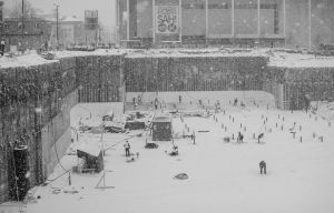 construction site in heavy snow by dzorma