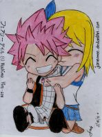 Chibi Natsu and Lucy by janesmee